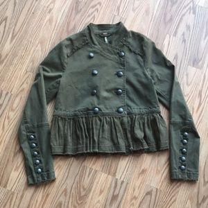 FREE PEOPLE | Ruffle Hem Military Jacket